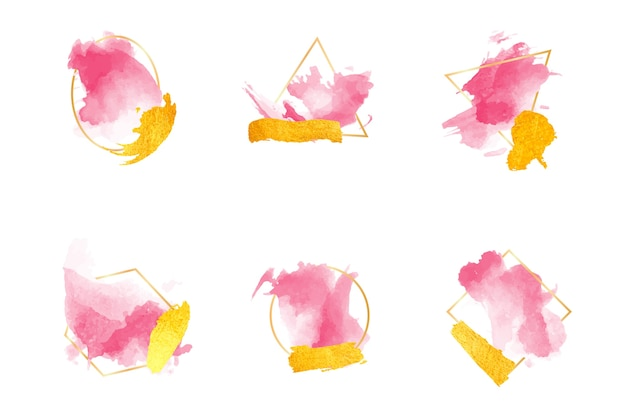 Glitter frame set with watercolor brush strokes Free Vector