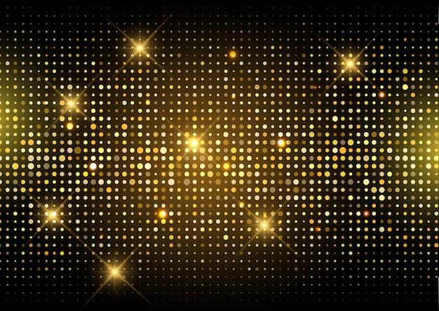Glitter gold disco lights background Free Vector