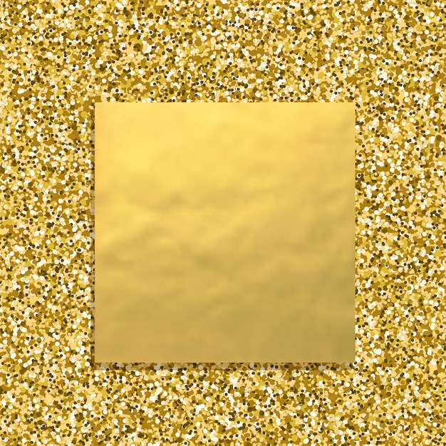 Glitter golden background with square gold banner, sparkling dust texture Premium Vector