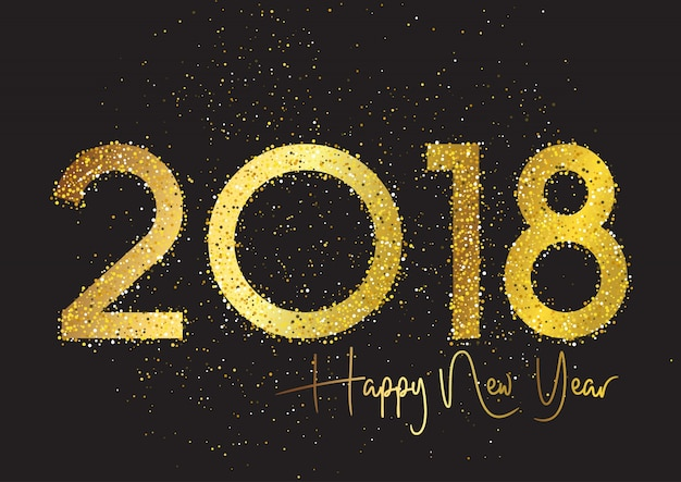 glitter happy new year background free vector