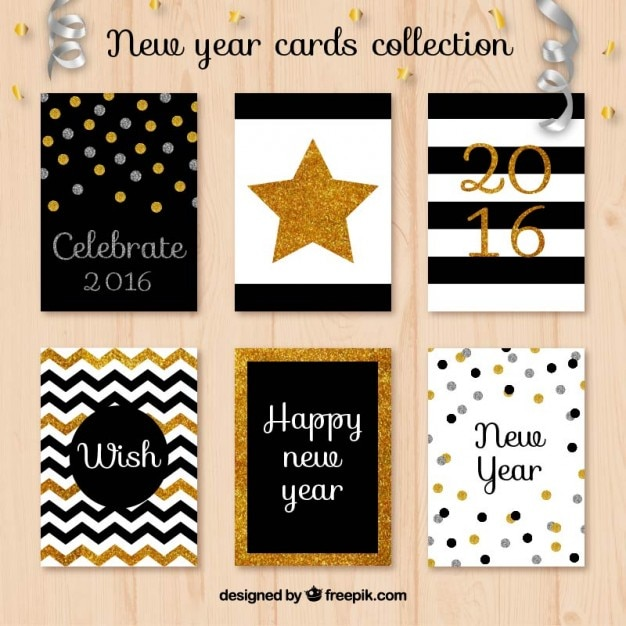 glitter new year cards collection premium vector