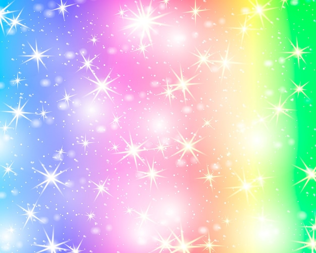 キラキラ星の虹の背景。パステルカラーの星空。明るい人魚。ユニコーンのカラフルな星。 Premiumベクター