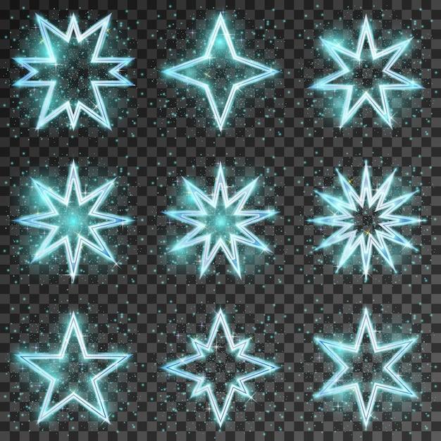 반짝이는 별. 밝고 반짝이는 장식 크리스마스, 반짝임과 섬광, 벡터 일러스트 레이션 무료 벡터