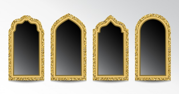 Glittering arabic windows Premium Vector