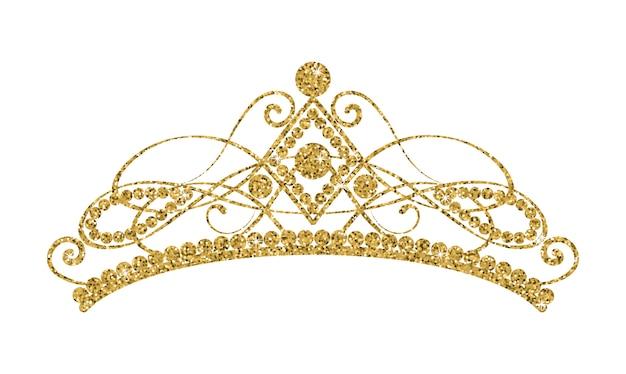 Glittering diadem. golden tiara isolated on white background. Premium Vector