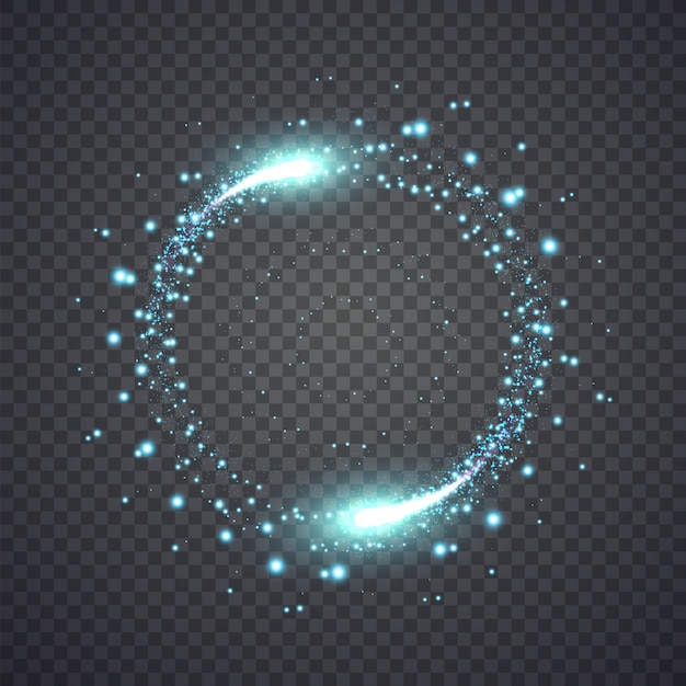 Glittering star dust lights circle isolated Premium Vector