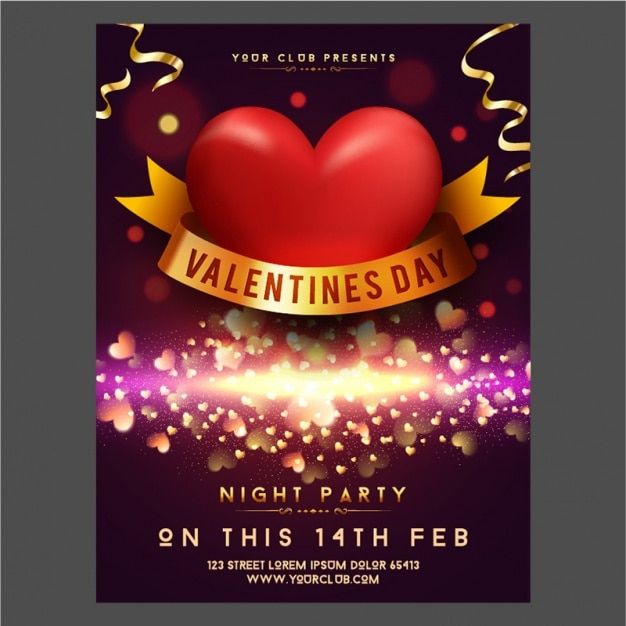Glittering Valentine S Day Poster With Golden Details Vector