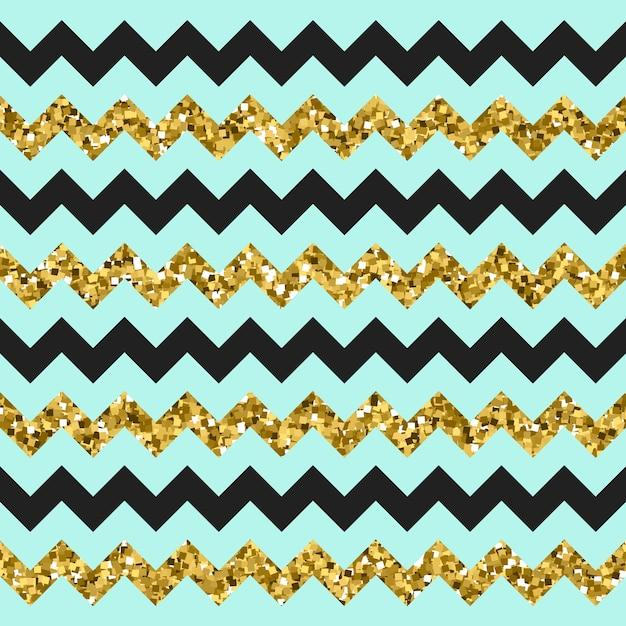 Glittery gold chevron zigzag pattern Premium Vector
