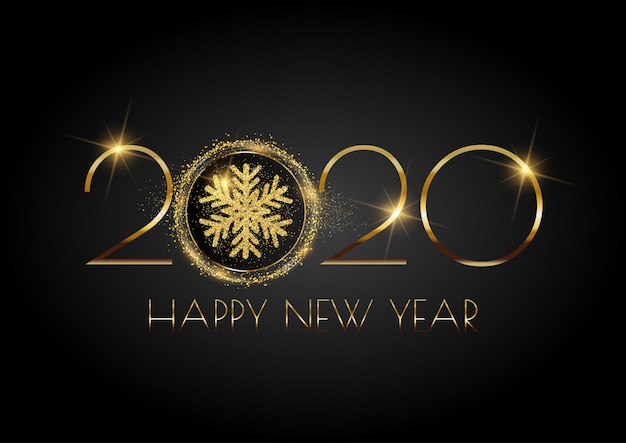 Glittery happy new year background with snowflake Free Vector