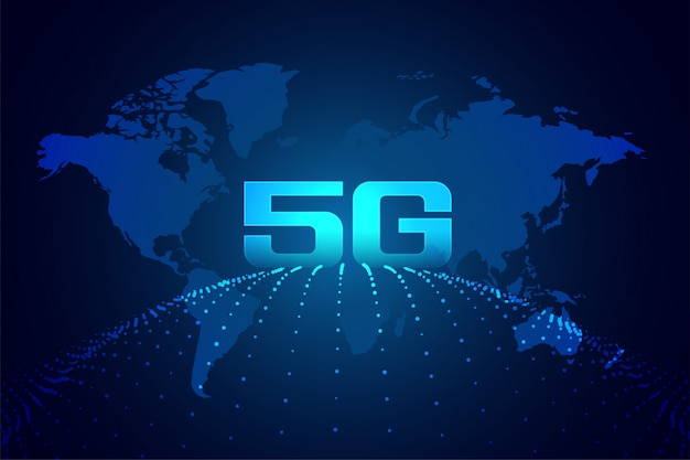 Global 5g technology digital network background Free Vector