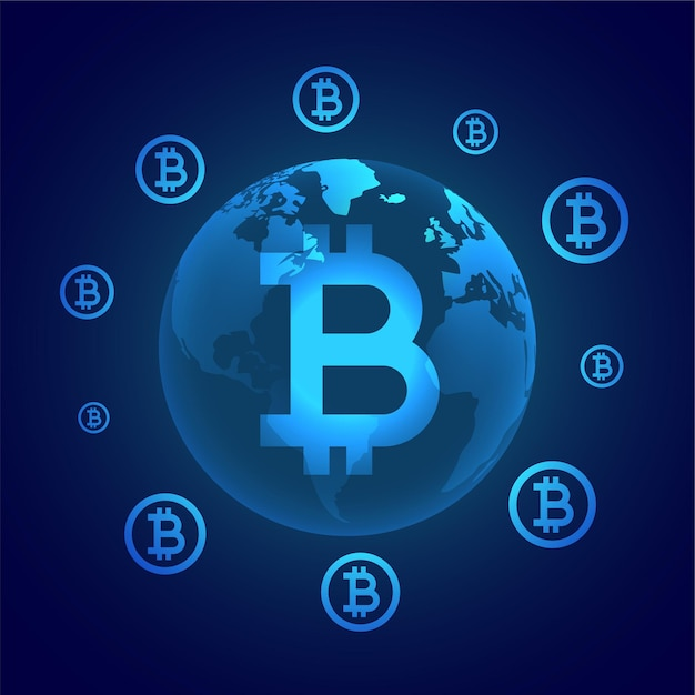 Global bitcoin digital currency concept surrounding earth Free Vector