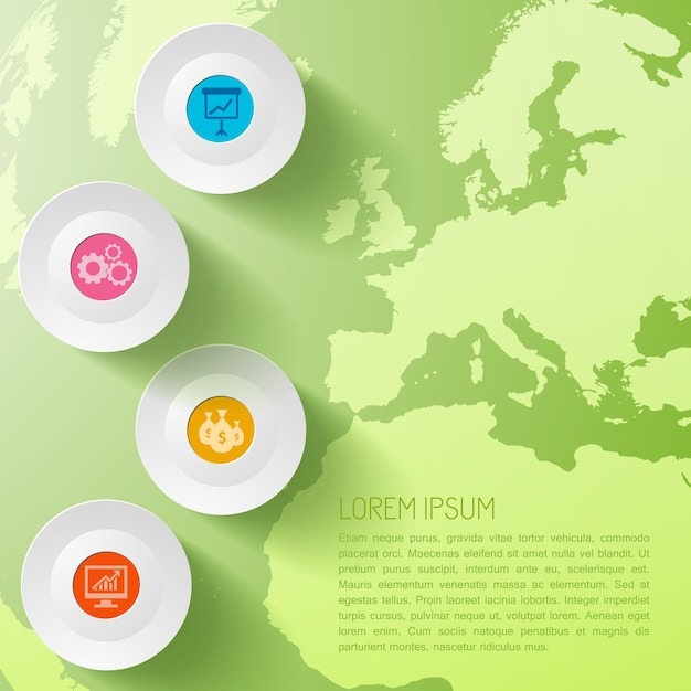 Global business infographic template with circles and world map Free Vector
