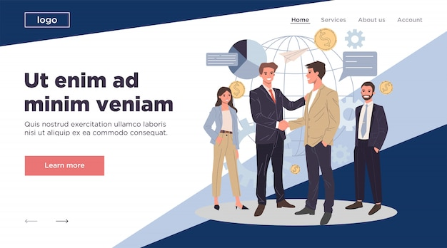 Global business partnership flat  illustration Premium Vector