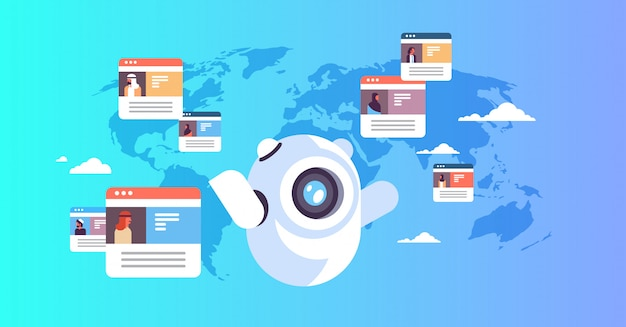 Global chatbot concept with arabic people Premium Vector