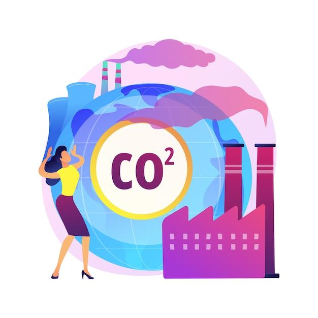 Иллюстрация абстрактной концепции глобальных выбросов co2. глобальный углеродный след, парниковый эффект, выбросы co2, страновые показатели и статистика, двуокись углерода, загрязнение воздуха Бесплатные векторы