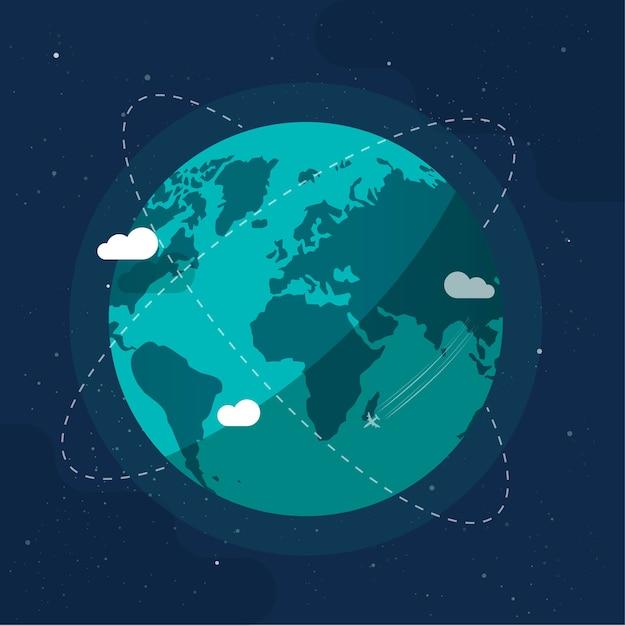 Технологии будущего глобального коммуникационного бизнеса вокруг планеты земля с космических орбит Premium векторы