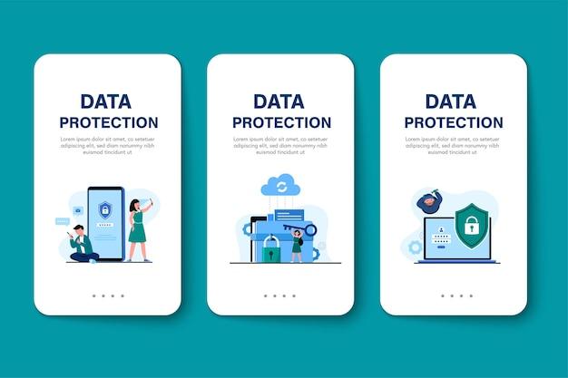 글로벌 데이터 보안, 개인 데이터 보안, 사이버 데이터 보안 온라인 개념 그림, 인터넷 보안 또는 정보 개인 정보 보호 및 보호. 무료 벡터