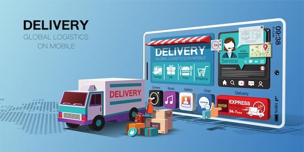 Глобальные службы доставки для покупок онлайн на мобильном приложении на грузовике Premium векторы