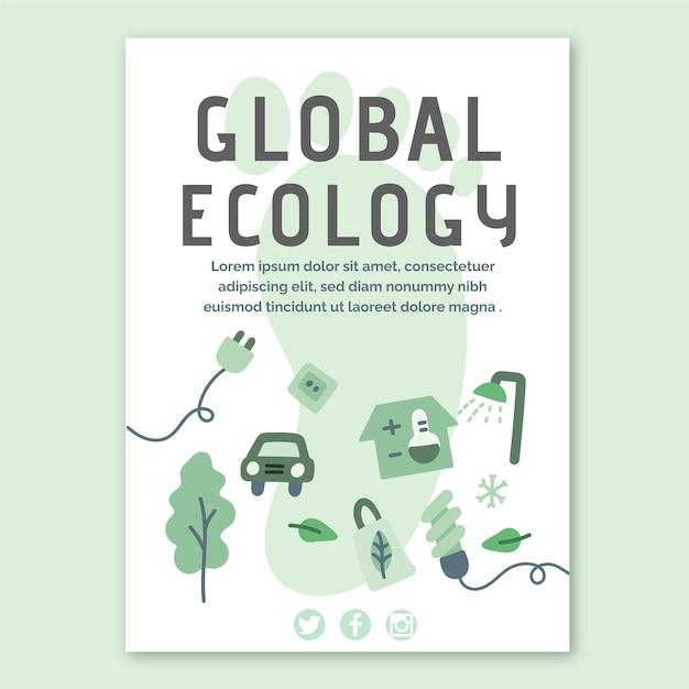 グローバルエコロジーチラシテンプレート 無料ベクター