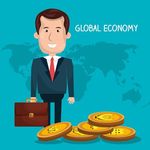 Global economy design Premium Vector