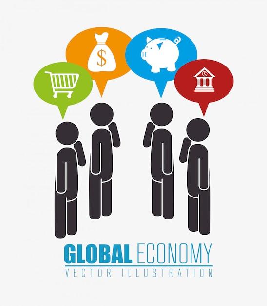 Global economy,money and business Premium Vector