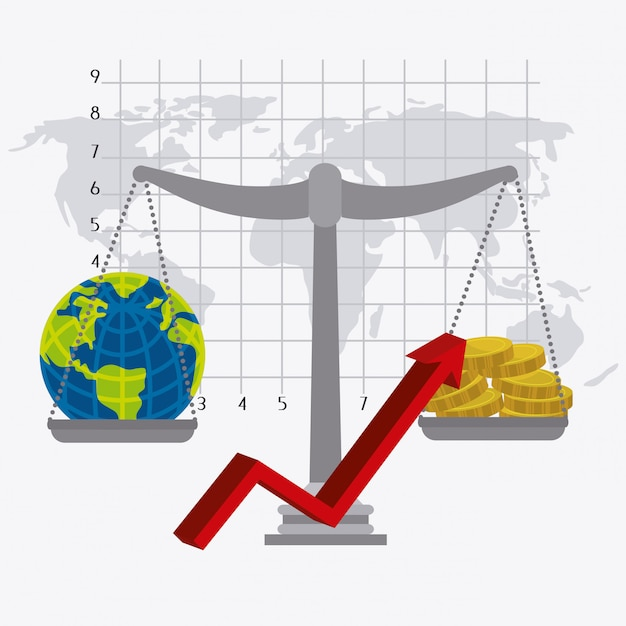 Global economy, money and business Free Vector