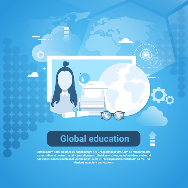 Global education web banner with copy space on blue background Premium Vector