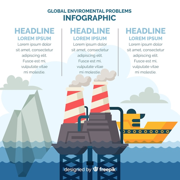 Global environmental problems infographic flat style Free Vector