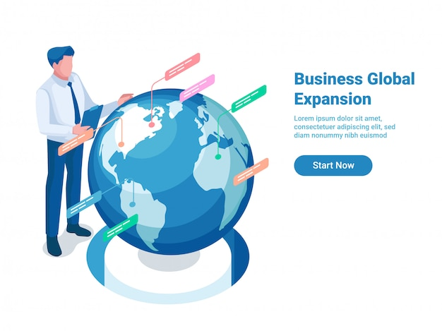 Global expansion illustration concept with text template Premium Vector