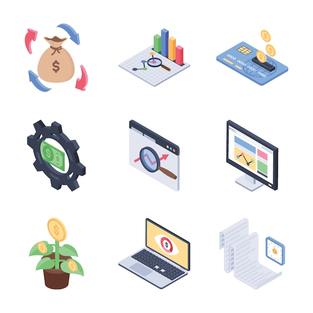 Global, fundraising and financial trends isometric icons pack Premium Vector