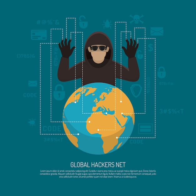 Global hackers net symbolic background poster Free Vector