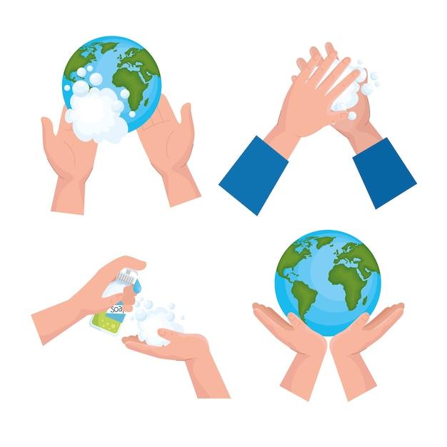 グローバル手洗いの日のアイコンセットのデザイン、衛生洗浄の健康と清潔 Premiumベクター