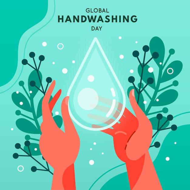 世界的な手洗いの日のお祝い Premiumベクター
