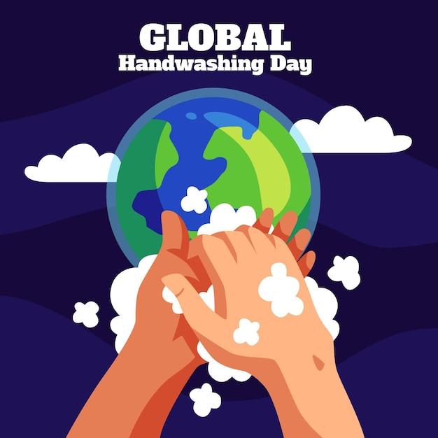 Concetto globale di giorno del lavaggio delle mani Vettore gratuito