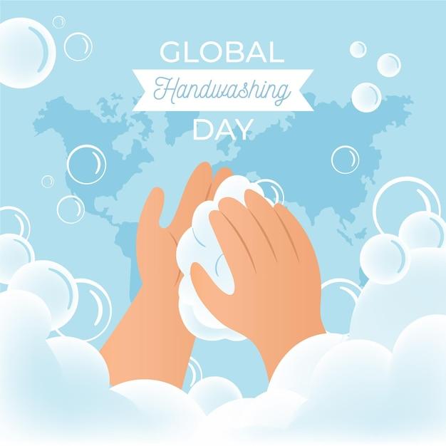 Celebrare l'evento della giornata mondiale del lavaggio delle mani Vettore gratuito