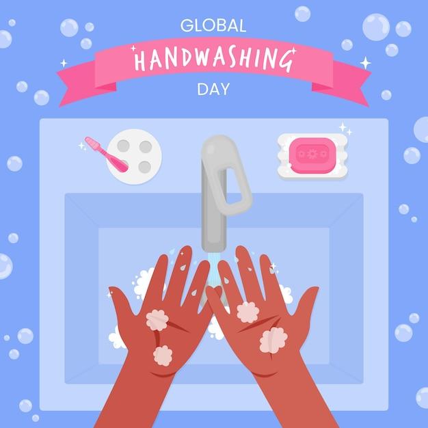 Concetto di evento del giorno di lavaggio delle mani globale Vettore gratuito