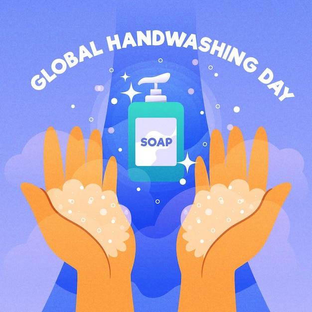 Progettazione di eventi per il giorno del lavaggio delle mani globale Vettore gratuito
