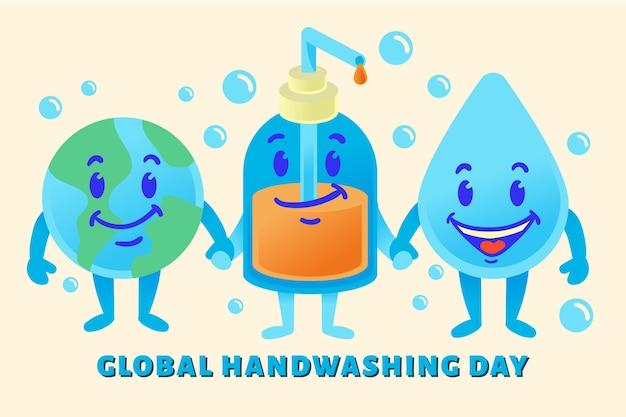 Giornata mondiale del lavaggio delle mani Vettore gratuito