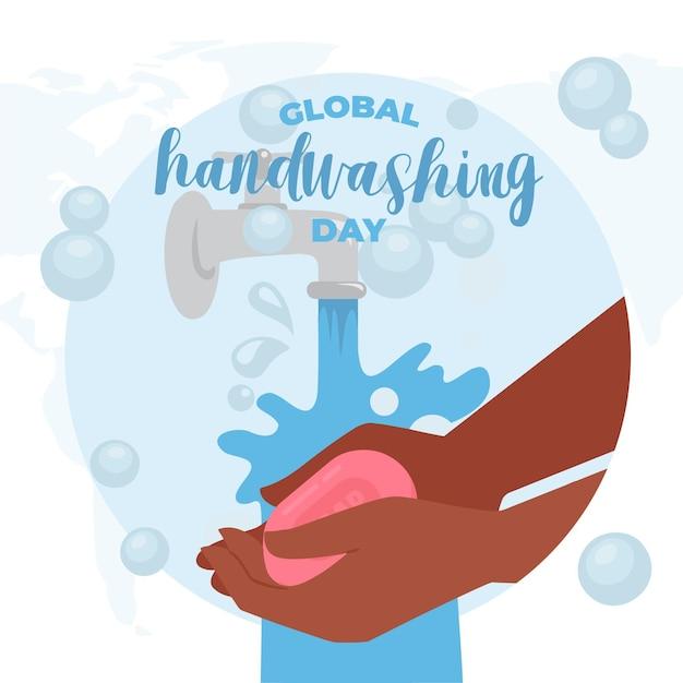 Concetto globale dell'illustrazione di giorno di lavaggio delle mani Vettore gratuito