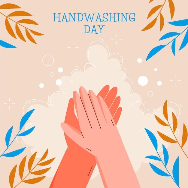 Illustrazione di giorno di lavaggio delle mani globale con foglie Vettore gratuito