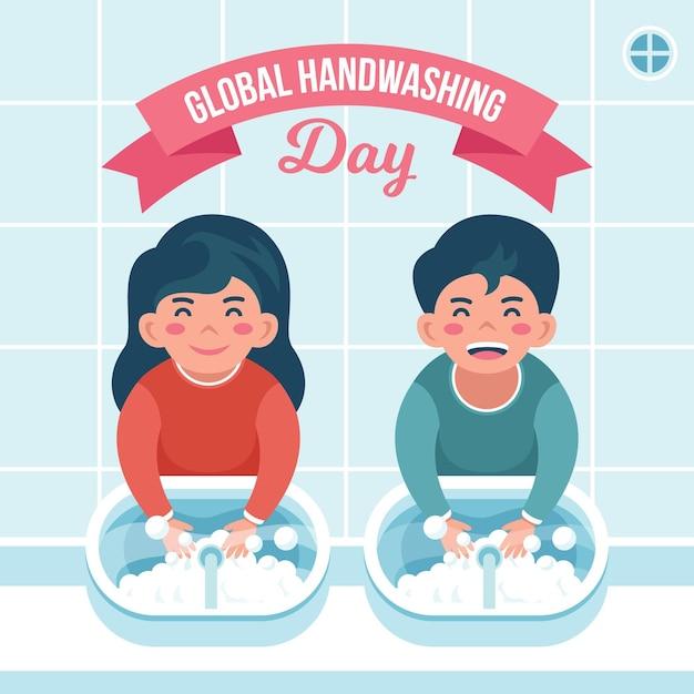 Illustrazione di giorno di lavaggio delle mani globale Vettore gratuito