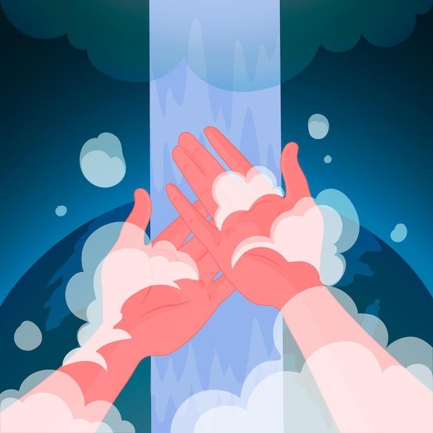 Giornata mondiale del lavaggio delle mani con mani e sapone Vettore gratuito