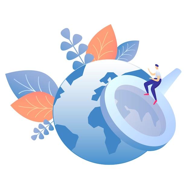 Global information search flat vector illustration Premium Vector