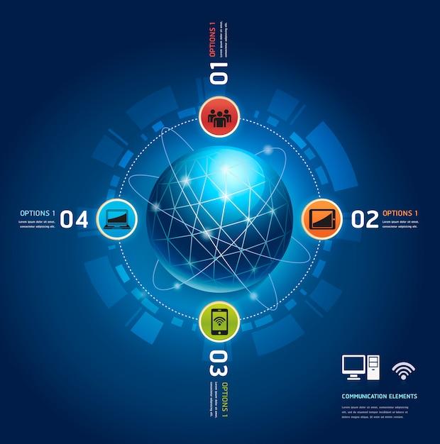 Global internet communication with orbits Premium Vector