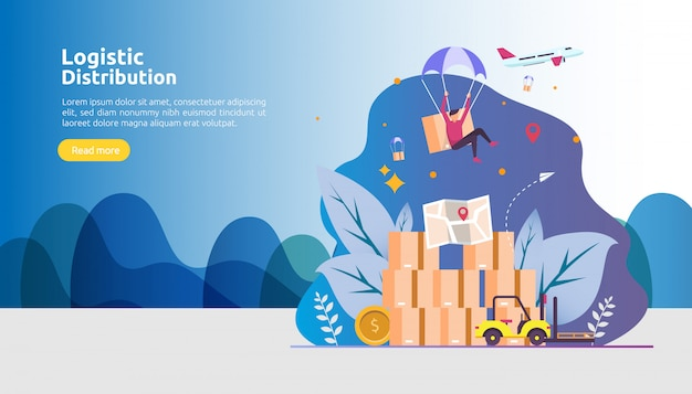 Global logistic distribution service and delivery worldwide shipping banner with people character Premium Vector