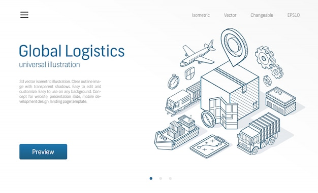 Global logistic service modern isometric line illustration. export, import, warehouse business, transport sketch drawn icons. box storage, distribution, cargo delivery concept. Premium Vector