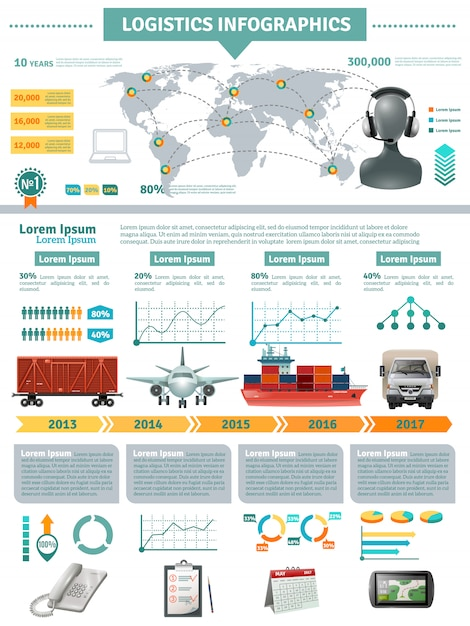 Global logistics infographics Free Vector
