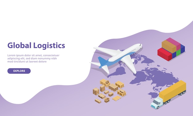 Global logistics network with world map and transportation plane and truck container with modern isometric style for website. Premium Vector