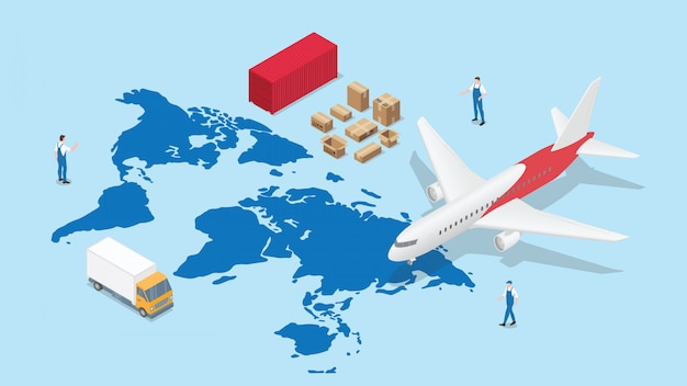 Global logistics network with world map and transportation plane and truck container with modern isometric style Premium Vector