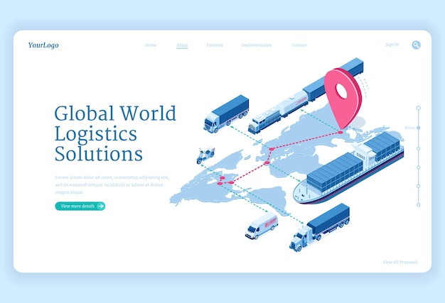 Global logistics solutions isometric landing page Free Vector
